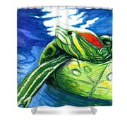Happy Turtle Shower Curtain