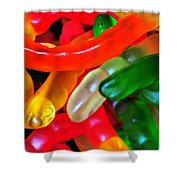 Happy Worms Shower Curtain