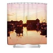Harbor At Sunrise Shower Curtain by Bilderbuch