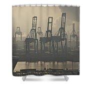 Harbor Cranes Shower Curtain