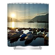 Harbor In Sunrise Shower Curtain
