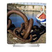 Harbour With Mooring And Fishing Boat Shower Curtain by John Short