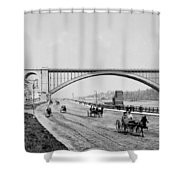 Harlem River Speedway Scene Beneath The George Washington Bridge Shower Curtain