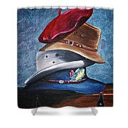 Hat Stack Shower Curtain