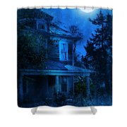Haunted House Full Moon Shower Curtain by Jill Battaglia