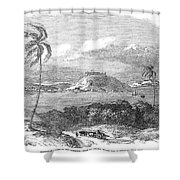 Havana, Cuba, 1851. /na View Of The Harbor And Fort Of Atares. Wood Engraving, English, 1851 Shower Curtain