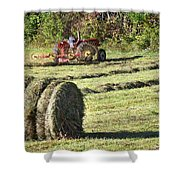 Hay Bale And Tractor Shower Curtain