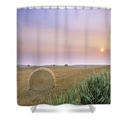 Hay Bales And Sunrise In Fog Shower Curtain