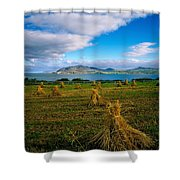 Hay Bales In A Field, Ireland Shower Curtain