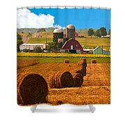 Hay Bales Leading To Barn Shower Curtain