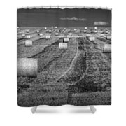 Hay Bales On A Farm In Alberta Shower Curtain