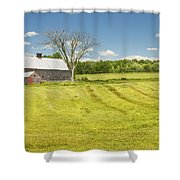 Hay Being Harvested Near Barn In Maine Shower Curtain