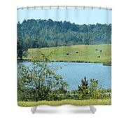 Hay Rolls On A Hill Shower Curtain
