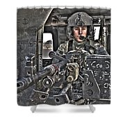 Hdr Image Of A Uh-60 Black Hawk Door Shower Curtain