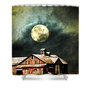 Hdr Moon And Barn Shower Curtain