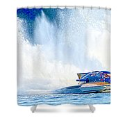 Hdr Pano Thunder On The Lake Shower Curtain