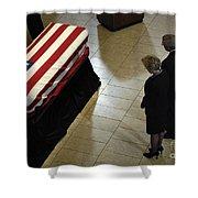 He Casket Of Former President Gerald R Shower Curtain