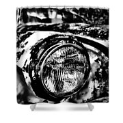 Headlights In The Woods Shower Curtain