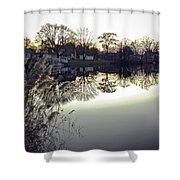 Hearns Pond Reflection Shower Curtain
