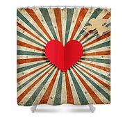 Heart And Cupid With Ray Background Shower Curtain
