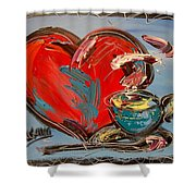 Heart Coffee Cup Shower Curtain