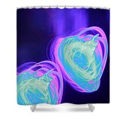Heart Shaped Glowing Orbs Shower Curtain
