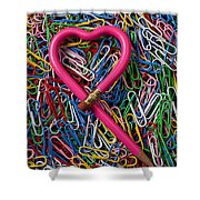 Heart Shaped Pink Pencil Shower Curtain