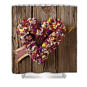 Heart Wreath With Weather Vane Arrow Shower Curtain