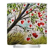 Hearts Grow On Trees Shower Curtain