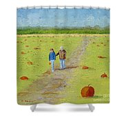 Heather And Poppy Pumpkin Picking Shower Curtain