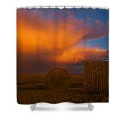 Heavy Clouds And Hay Bales Shower Curtain
