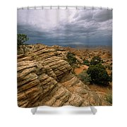 Heavy Clouds Over A Rocky Desert Shower Curtain