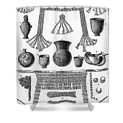 Heinrich Schliemann (1822-1890). German Traveller And Archeologist. Some Of The Antiquities Excavated By Schliemann At Hissarlick, Turkey, Site Of Ancient Troy. Wood Engraving, English, 1877 Shower Curtain