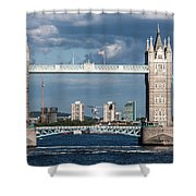 Helicopters And Tower Bridge Shower Curtain