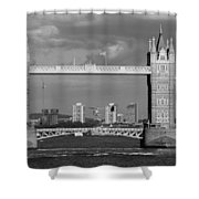 Helicopters Flying Through Tower Bridge Shower Curtain