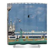 Helicopters Tower Bridge Shower Curtain