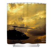 Helocopter In Clouds Shower Curtain