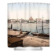 Helsinki Finland - Russian Cathedral And Harbor Shower Curtain