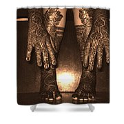 Henna Art On An Indian Bride Shower Curtain