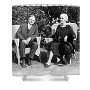 Herbert Hoover Seated With His Wife Shower Curtain