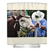 Hereford Bull With Akubra Hat In Hyde Park Shower Curtain by Kaye Menner