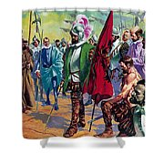 Hernando Cortes Arriving In Mexico In 1519 Shower Curtain