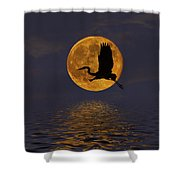 Heron And The Harvest Moon Shower Curtain