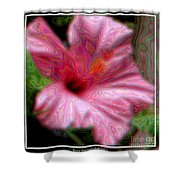 Hibiscus With A Blurred Enamel Effect Shower Curtain