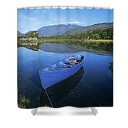 High Angle View Of A Boat In A Lake Shower Curtain