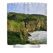 High Angle View Of A Coast, County Shower Curtain