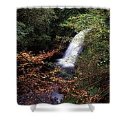 High Angle View Of A Waterfall, Glenoe Shower Curtain
