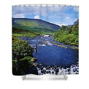 High Angle View Of A Waterfall Shower Curtain