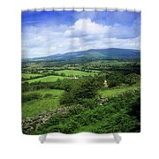 High Angle View Of Fields On A Shower Curtain