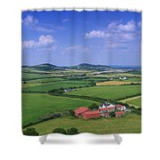 High Angle View Of Fields, Stradbally Shower Curtain